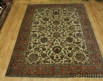 Allover Floral Ivory Orange Color Tabriz Persian Oriental Area Rug Carpet 8X11
