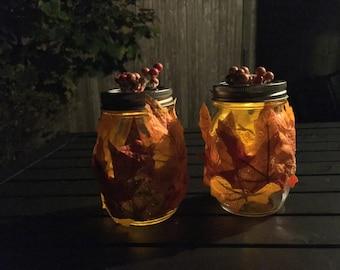 Mason Jar Leaf Fall tea lights