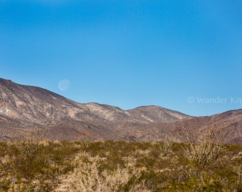 Desert Mountains and Moon - Fine Art Travel Photography Prints - Matted
