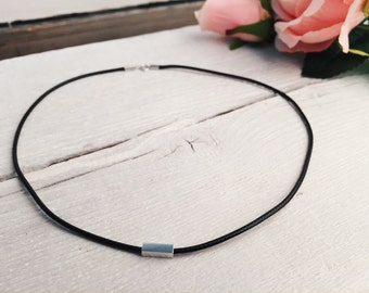 Minimalist Choker Black Faux Leather Choker Necklace with Sterling Silver Bar