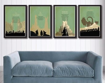 The Lord of the Rings Trilogy poster set and The Hobbit,SALE,The fellowship of the ring, The Two Towers,The Retern of the King,JRR Tolkien