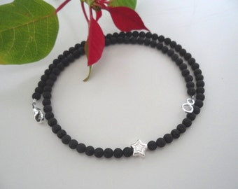 Fine lava necklace with Silver Star (4 mm)