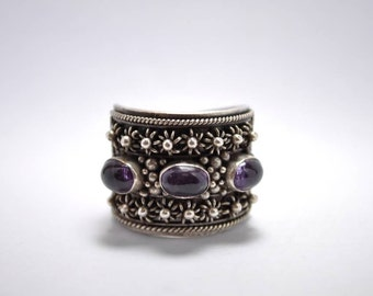 T11E01 Vintage Victorian Styl Ornate Beaded Floral Sterling Silver Ring Sz 10.25