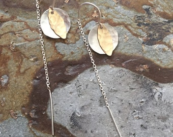 Two-Tone Layered Threader U-bar earrings with Sterling Silver and 14K Gold-Filled Hammered Dangles