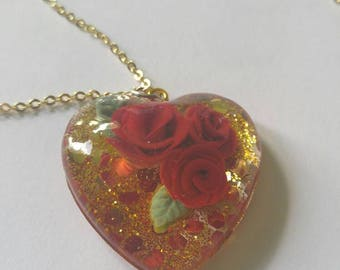 Roses and Gold Heart Pendant