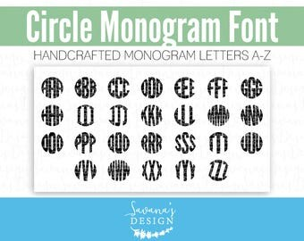 Circle Monogram Font, Monogram Font for Cricut, Monogram Font for Silhouette, Monogram Font Download, Cricut Monogram Fonts, Monogram Font