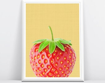 Strawberry Wall Art Print, Strawberry Photography, Fruit Print, Fruit Decor, Tropical Wall Print, Instant Download, Printable, Tropical Art