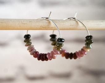 Watermelon Tourmaline Hoop Earrings, Silver Hoop Earrings, Gemstone Hoop Earrings, Tourmaline Earrings, Birthstone Earrings, Beaded Hoop
