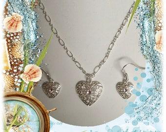 Sterling Silver Heart Necklace & Earrings