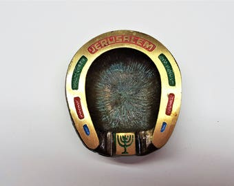 Hen Holon Personal Ashtray Made in Israel Vintage Red Green Blue Accent Brass with Touches of Verdigris Tobacciana Collectible Ashtray