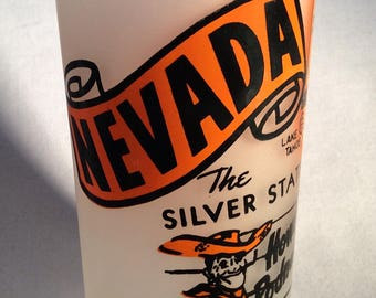 ON SALE:  Vintage 1950's Frosted Nevada State Souvenir Tumbler - ORANGE