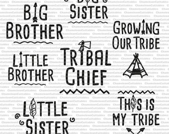 family tribe BUNDLE, SVG file, Shirt Design, big little brother, siblings, sister, pregnancy, arrow, wild, tribal chief, silhouette, vector