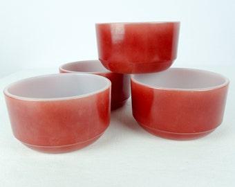 RED FIREKING BOWL, Vintage, Maroon, custard, soup, cereal bowl, 052