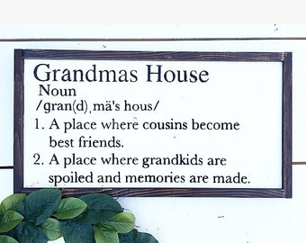 Grandmas house definition, custom grandmas house sign, grandmas house definition sign, wooden sign, grandma sign,
