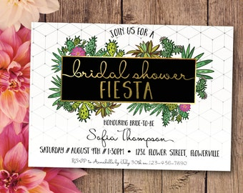 Bridal shower fiesta invitation, bridal shower invitation, fiesta bridal shower, white, gold, fiesta, Mexican, geometric, cactus (Sofia)