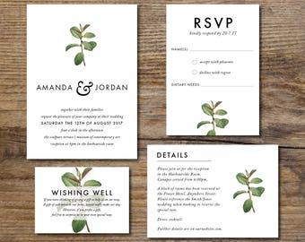 Minimal Botanical Wedding Invitation Suite, Minimal Wedding Suite, Simple Wedding Suite, Greenery, Branch, Affordable, Printable, DIY (Leaf)
