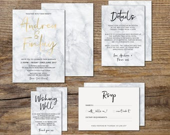 PRINTED foiled marble wedding invitation, grey & white marble wedding invitation, script, elegant, foil, gold, rose gold, silver (Marble)