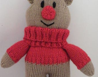 hand knitted reindeer toy
