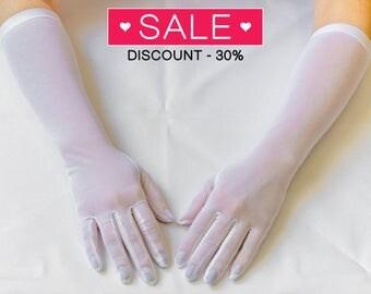 Long gloves, white wedding gloves, bridal gloves, elbow gloves, long gloves 10