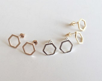 Hexagon earrings rose gold