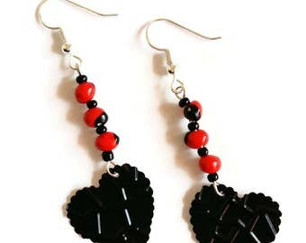 Ethnic earrings of hearts Huaeruro - - natural seeds - recycling - Capsules Nespresso - red black