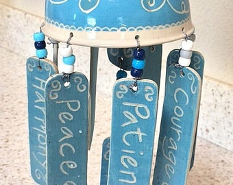 Ceramic wind chimes, hand carved affirmation wind chimes, handmade pottery mobile, serene home & garden decor