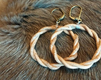 Twisted Leather Earrings, genuine leather, handmade earrings
