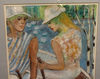 """Miriam Shorr Painting (1940-1998) Casein on Rice Paper """"On a day in Maine"""" Milk Paint Couple in Rowboat Listed Florida Artist"""