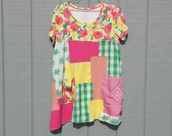 Super comfy floral tunic, pink,yellow,green,orange,white,knit top dress,upcycled tunic,repurposed clothing,patchwork,bright colors,pocket,