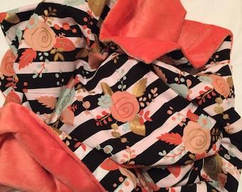 Coral Floral Baby Blanket