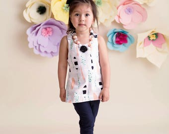 Reversible Pinafore/Dress/Top ONLY - Mint, Blush, Gold, Rose & Black and White Stripes and Feathers