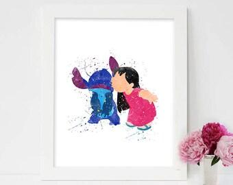 lilo and stitch art, lilo and stitch, lilo stitch, lilo and stitch pictures on wall, lilo and stitch watercolor,lilo stitch room,lilo dress