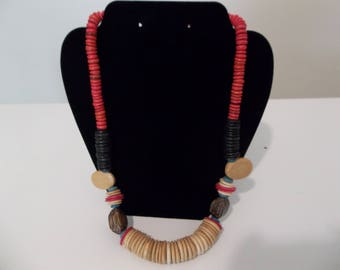 African style wooden necklacce