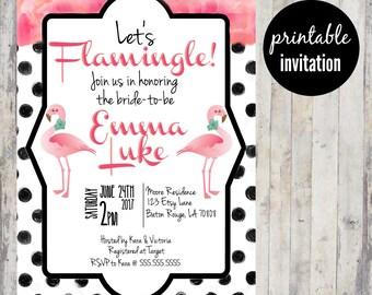 Flamingo Bridal Shower Invitation   Flamingle Bridal Shower Invitation, Summer Bridal Shower Invitation