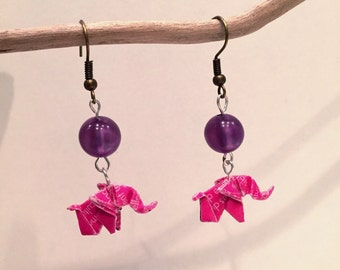 Origami paper earrings mini elephant with white roses/writes of a purple Pearl