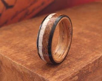 Jack Daniel's Reclaimed Whiskey Barrel Ring with Elk Antler & Ebony