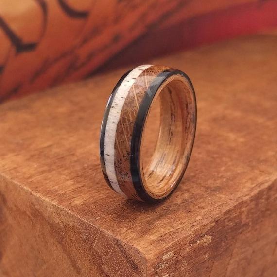 Elk Antler Wood Ring - Antler Wedding Band  Whiskey Barrel Wood Ring  Wooden Ring Men Engagement Ring Woman Anniversary Reclaimed Wood