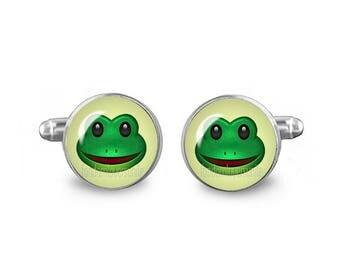 Frog Cuff Links Emoji Frog Cuff Links 16mm Wedding Cufflinks Gift for Men Groomsmen Good Luck Cuff links