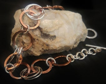 Sterling Silver and Copper Circle Link Chain Bracelet, Mixed Metals, Handmade, Hand Fabricated, Textured, Metalsmith, One of A Kind