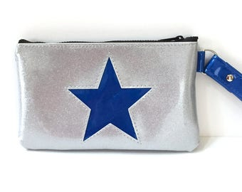 Silver with Blue Star Sparkle Wristlet Purse, Glitter Auto Upholstery Vinyl, Retro Clutch Handbag