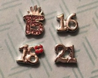 Floating Charm Numbers for Celebrating the Special Years of Age at a Great Price!