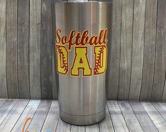 Softball Dad 20oz Stainless Steel Insulated Tumbler