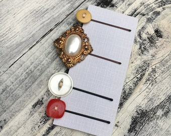 Vintage Button Bobby Pin, Set of 4 Vintage Button Bobby Pins, Retro style, Vintage Inspired Hair Accessories,