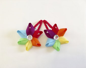 Rainbow Pinwheel Snap Clip Set