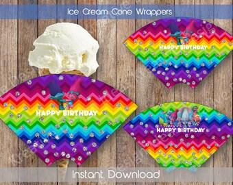 Trolls Ice Cream Cone Wrappers Trolls Sugar Cone Wrapper Ice Cream Party Trolls Birthday INSTANT DOWNLOAD