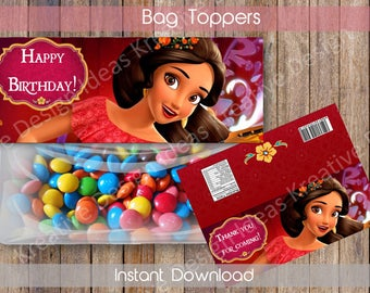 Elena of Avalor Bag Toppers Elena of Avalor Party Favors Elena of Avalor Printable Bag Toppers Elena Treat Bag Toppers INSTANT DOWNLOAD