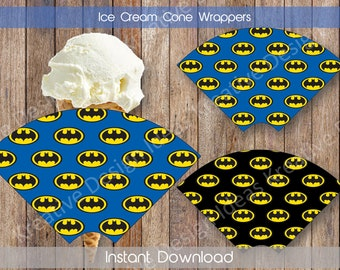 Batman Ice Cream Cone Wrappers Batman Sugar Cone Wrapper Batman Waffle Cone Wrapper Batman Birthday Printables INSTANT DOWNLOAD