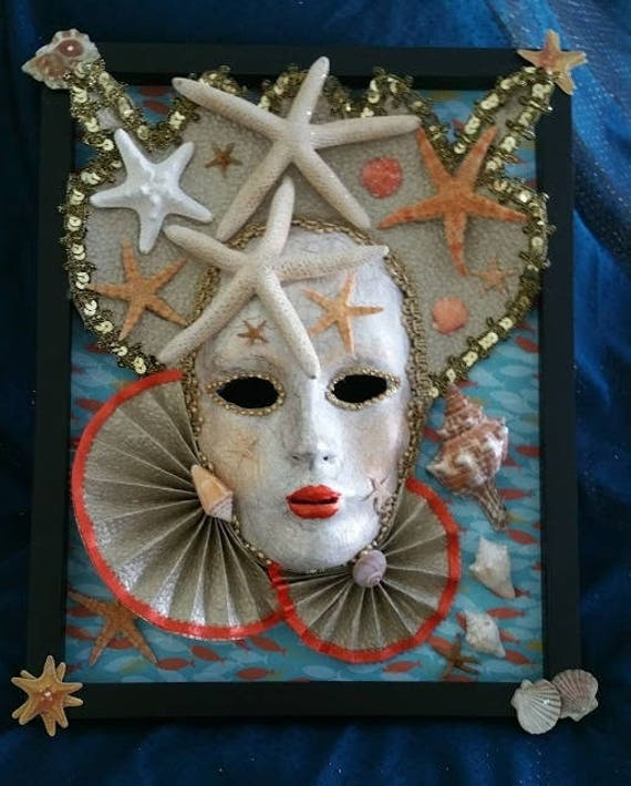 Handmade, original, paper mache mask, in frame, Queen of Shells, made with real shells, detailed with lace, designer papers