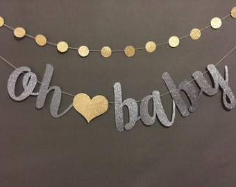 High Quality Oh Baby Banner, Baby Shower Banner, Black U0026 Gold Baby Shower Decor, Gold