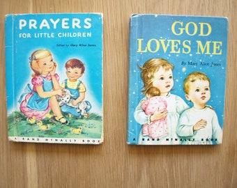 Prayers for Little Children and God Loves Me~ Two Vintage Rand McNally Junior Elf Books by Mary Alice Jones 1959